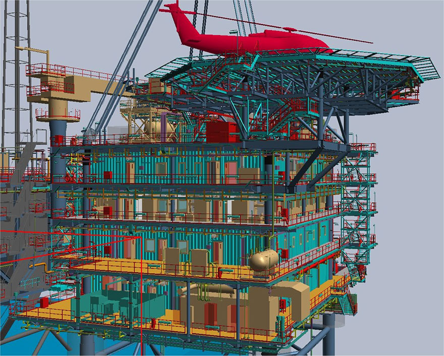 Completed the 90% model review of the NFB Offshore Accommodation platform in Qatar